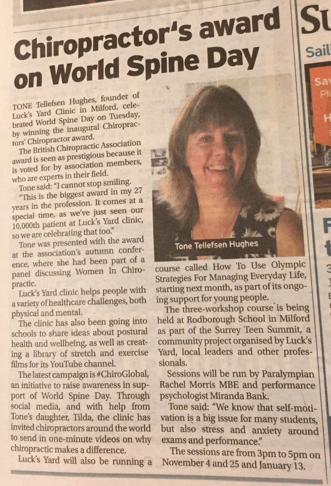 Lucks Yard Award Newspaper Article